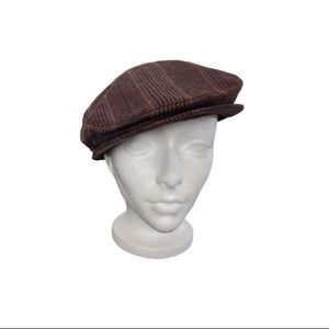 Plaid linen and wool paperboy cap